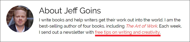 An email list signup offer in Jeff Goins's bio
