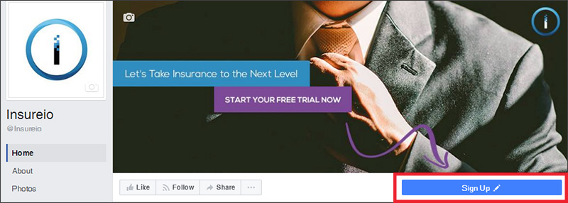 An email list signup offer on Insureio's Facebook page