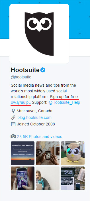 An email list signup offer in Hootsuite's Twitter bio