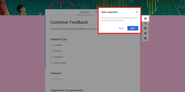 Google Forms form builder