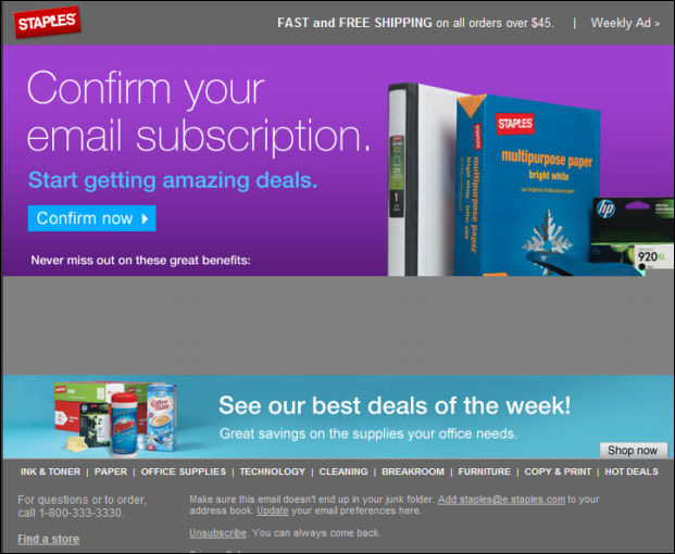 Double opt-in confirmation email example from Staples