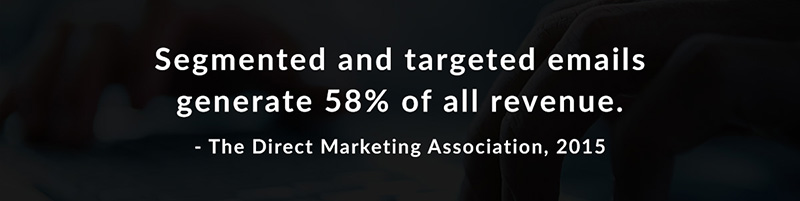 Segmented and targeted emails generate 58% of all revenue - The Direct Marketing Association, 2015
