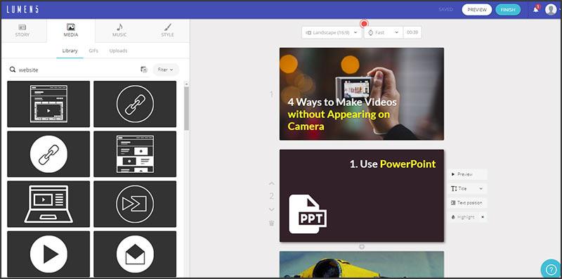 Lumen5 video creation software