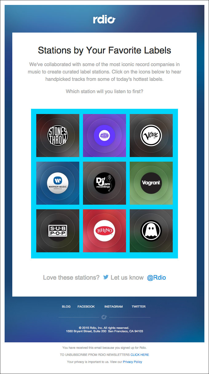 A sample cross-sell email from rdio, offering related products the user might also enjoy