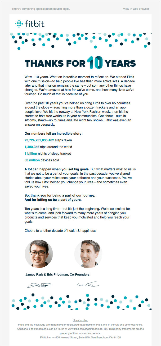 A sample relationship-building email from fitbit, thanking the customer for being part of their 10 years in business