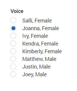 Screenshot of the Amazon Polly voice options for American English