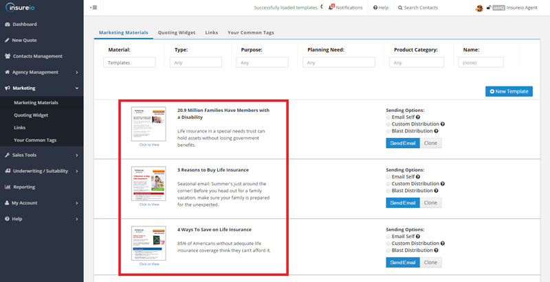 Automated Email Marketing in Insureio: Marketing Library