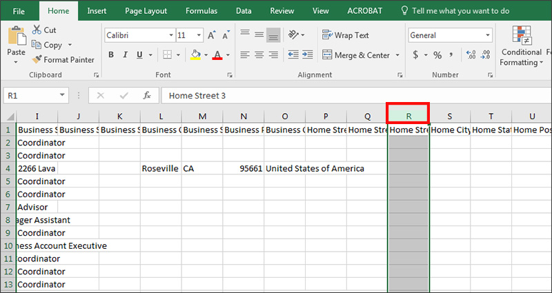 Delete a column of exported data in Excel