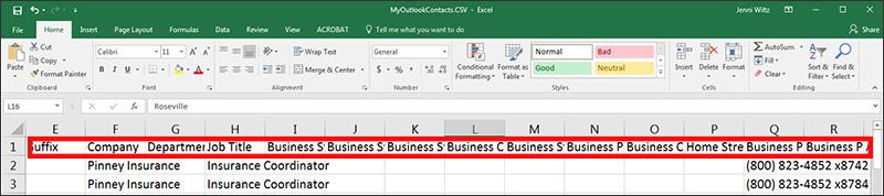 Column header text partially hidden in Excel