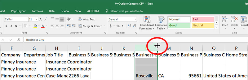 Double-click a column to expand it in Excel