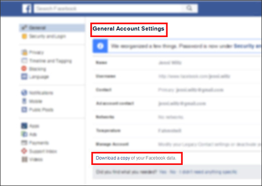 Facebook General Account Settings - download data