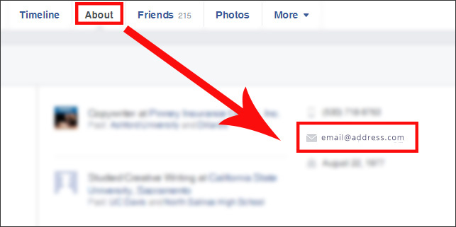 Where to find a Facebook user's email address