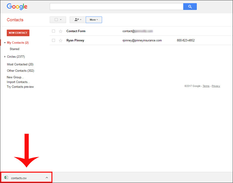 Gmail's CSV export downloads in your browser
