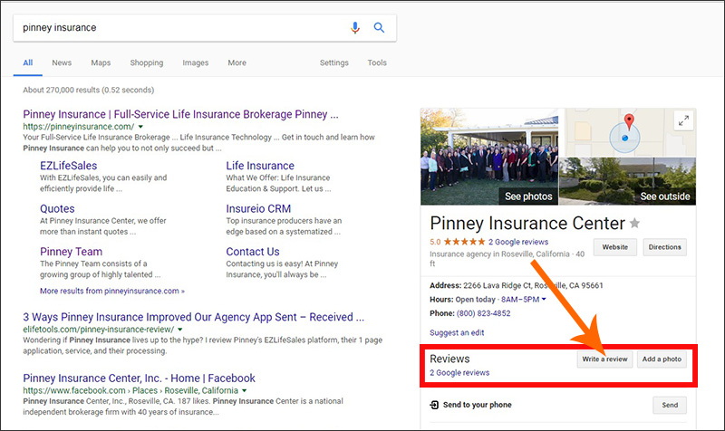 Screenshot of Google results showing where to click to leave a review for a business