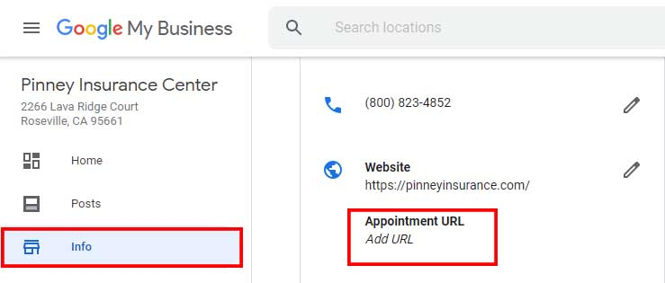 Screenshot of the new ability to add an appointment URL in a Google My Business page
