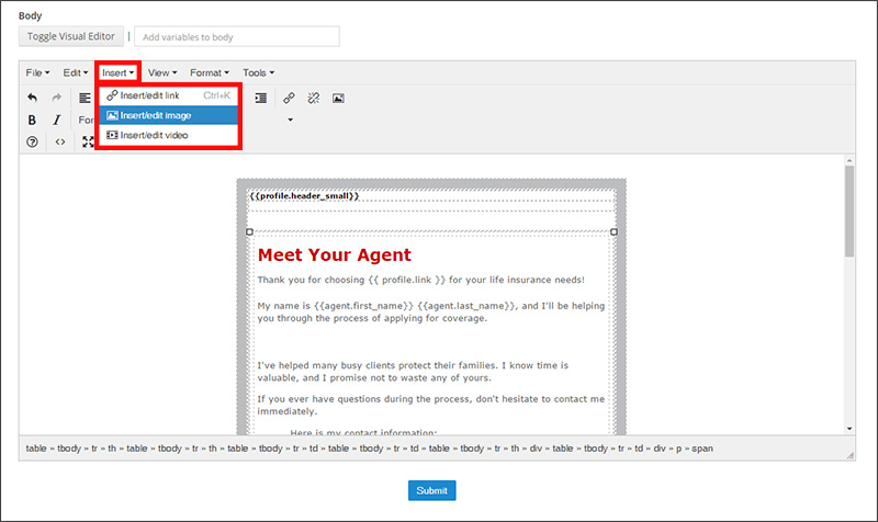 Using the Insert Image feature in the Insureio WYSIWIG email editor