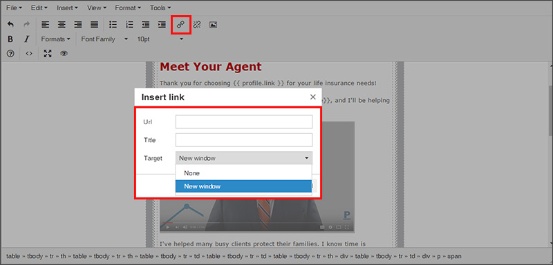 Using the Insert Link field in the Insureio WYSIWIG email editor