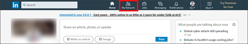 Exporting contacts from LinkedIn - click My Network at top of page