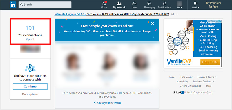 Exporting contacts from LinkedIn - click See all beneath the number of your connections
