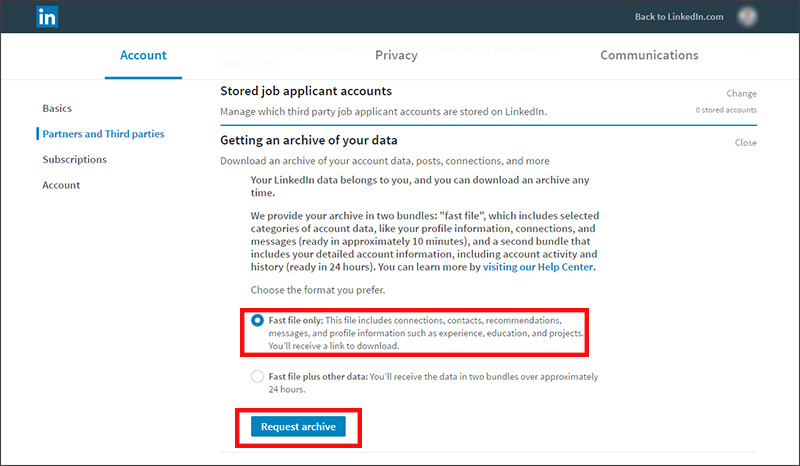 Exporting contacts from LinkedIn - get an archive of your data
