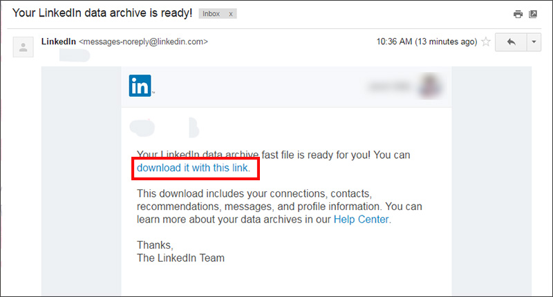 Exporting contacts from LinkedIn - click the link in the email sent by LinkedIn