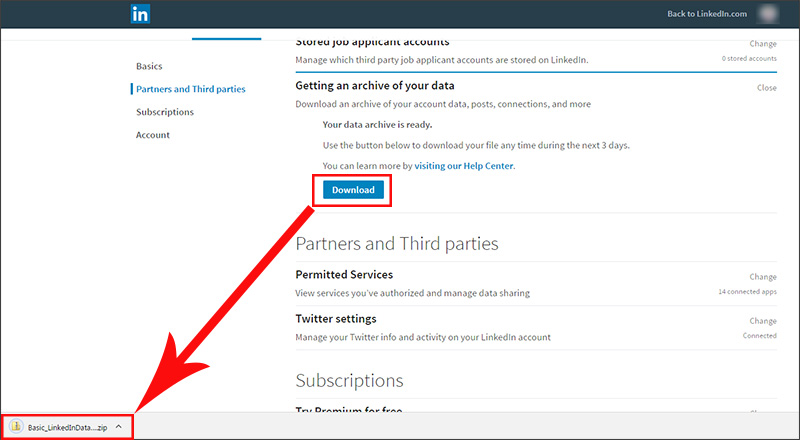 Exporting contacts from LinkedIn - download your archive