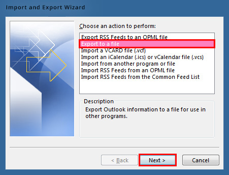 Export contacts to a file in Outlook
