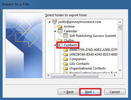 Select your contacts folder to export to a CSV file in Outlook