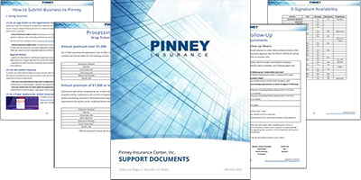 Screenshot of Pinney Insurance support documents