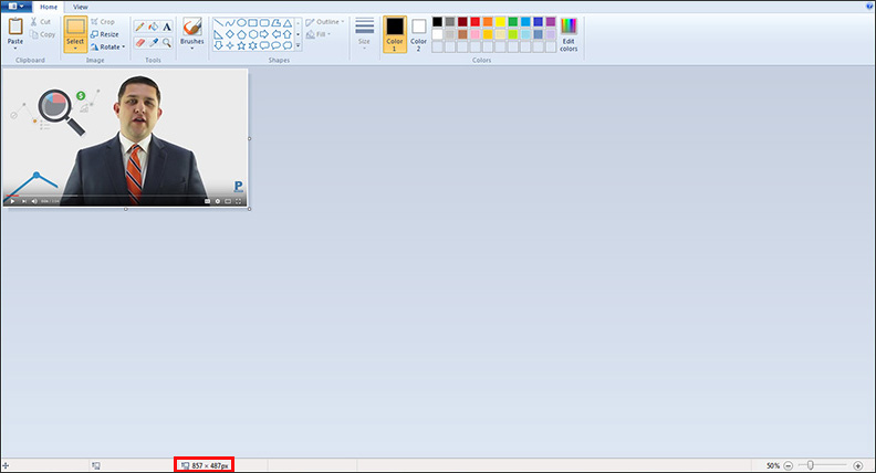 Pixel size of an image in MS Paint
