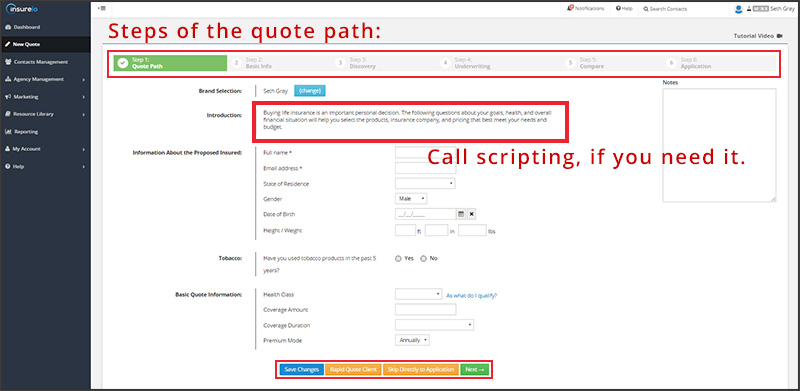The quote path in Insureio
