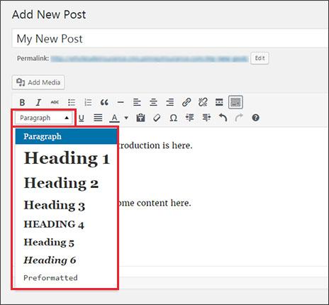 WordPress header tag menu