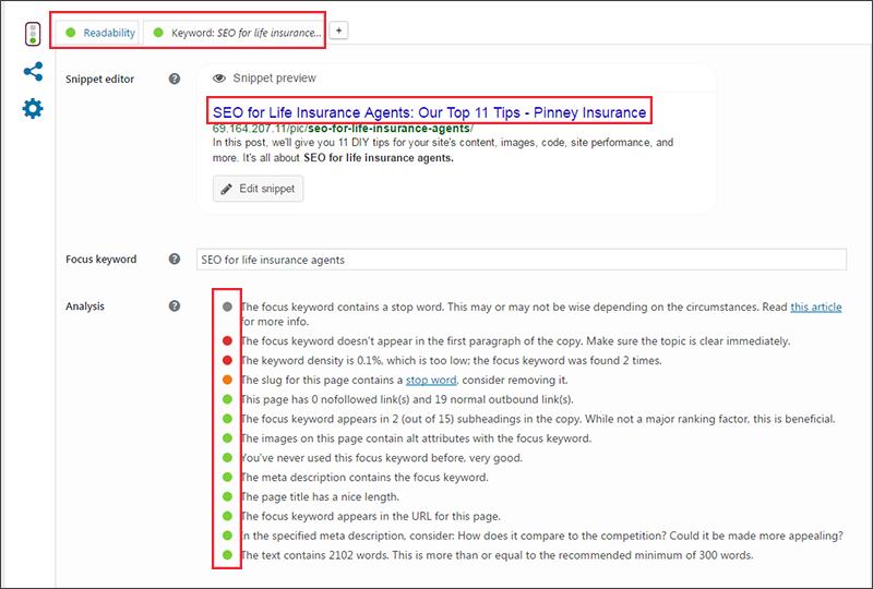 WordPress Yoast SEO plugin interface