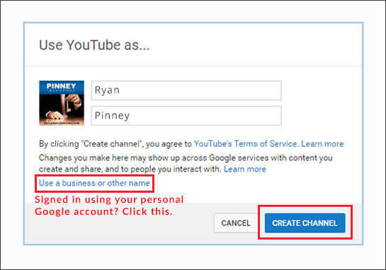 YouTube channel creation - choose whether this is a brand account
