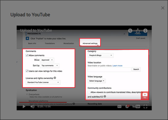 YouTube video metadata shown in the Advanced settings tab