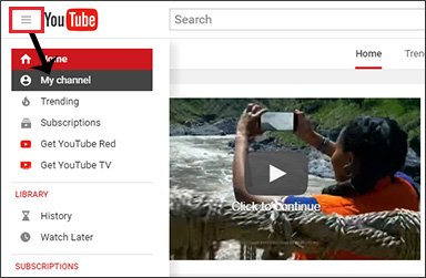 YouTube menu - access your channel