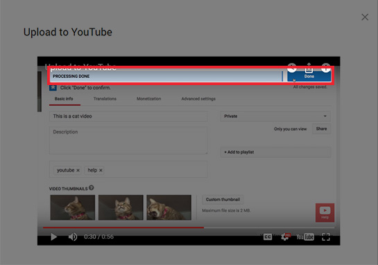 YouTube processing done notification