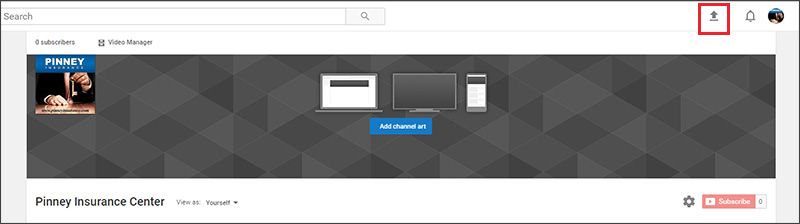 Upload button for your YouTube channel