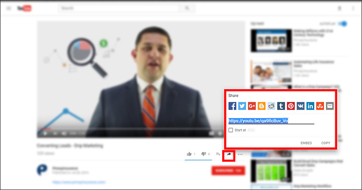 Where to find the sharing URL provided by YouTube