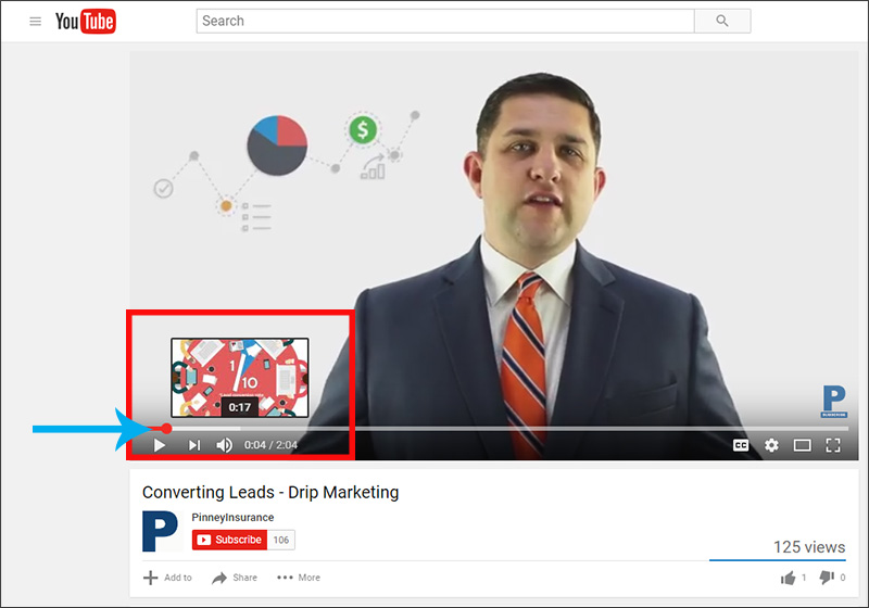 Hover your mouse at any point in a YouTube video's timeline and YouTube shows you an image of that frame.