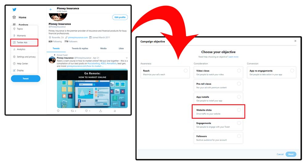 Screenshot of the Twitter ad manager platform.