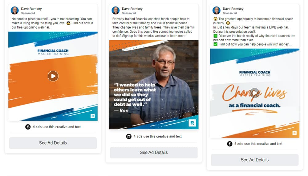 Screenshot of several Dave Ramsey ads promoting a webinar