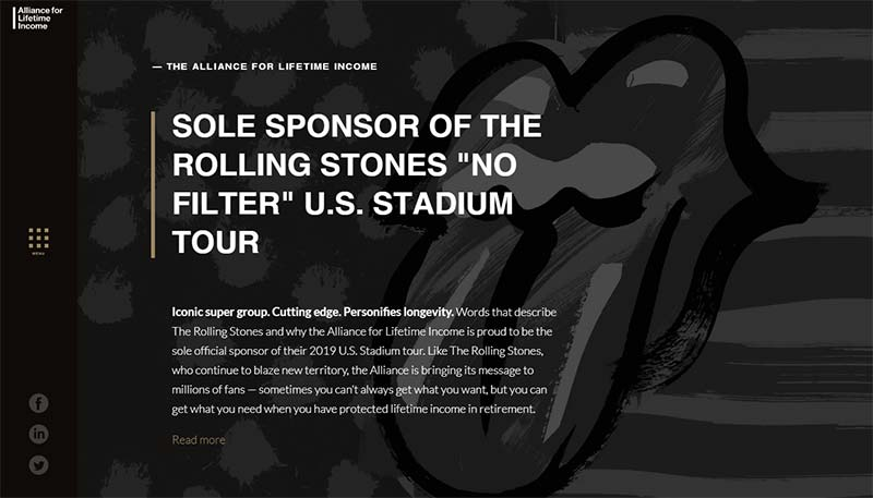 Screenshot of the Alliance for Lifetime Income website with an announcement about their sponsorship of the Rolling Stones 2019 U.S. stadium tour