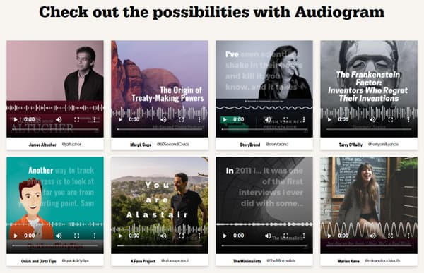 Screenshot of the Audiogram app's home page