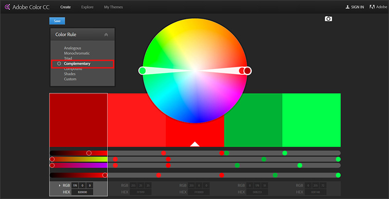 Adobe Color - choosing a palette setting