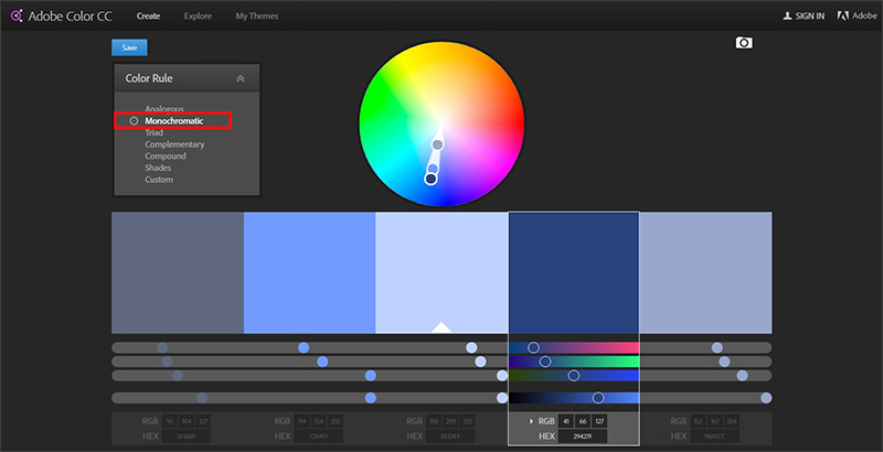 Adobe Color - choosing palette colors