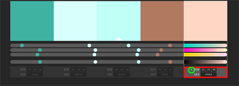Adobe Color - getting the RGB and hex codes for your colors