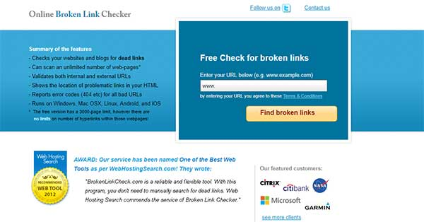 Screenshot of the tool described, brokenlinkcheck.com