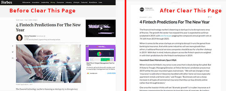 Split-screen image with left-hand side showing an article on the Forbes website, with ads, a video, a stock photo, and only one line of the actual article. On the right, the same article is displayed without all the distractions, and multiple easy-to-read paragraphs are displayed.