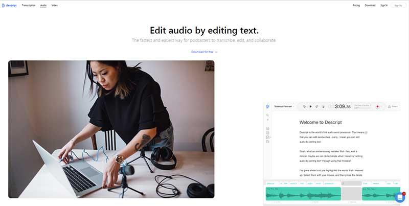 Screenshot of Descript's web page on audio editing capabilities
